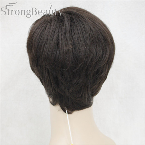 StrongBeauty Synthetic Straight Hair Boy Short Side Part Black/Brown Cosplay Men/Women Wigs Karachi
