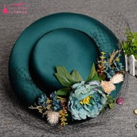 Handmade Satin Bridal Hats Bride Dark Green Mesh Flower Bowler Studio Photography Hat Wedding Dress Accessories DQG224