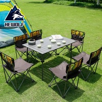 Aluminum table top iron tube Oxford cloth outdoor folding portable picnic table 7 piece set wild driving leisure table and chair