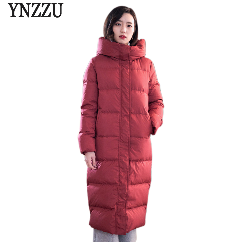 YNZZU Elegant Women's   Down   Jacket Red Long 90% White Duck   Down     Coat   2018 Winter Thick Warm Slim Female Jacket Overcoat O577