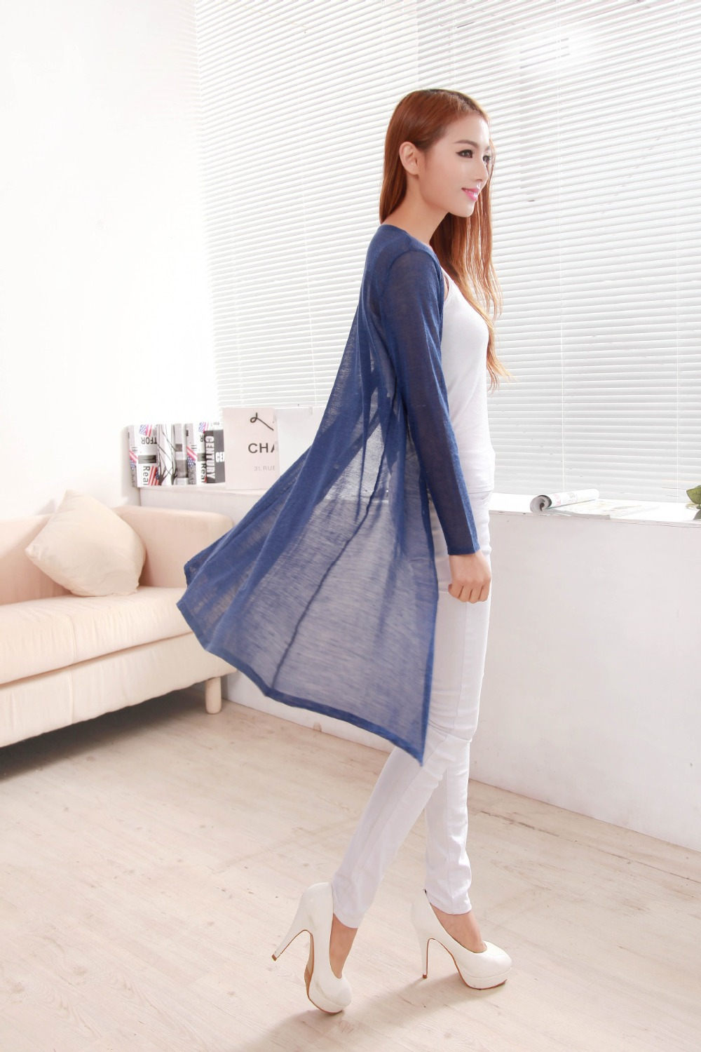 Women Lacing Pure Linen Summer Loose Long Knitted Cardigan Sweater ...