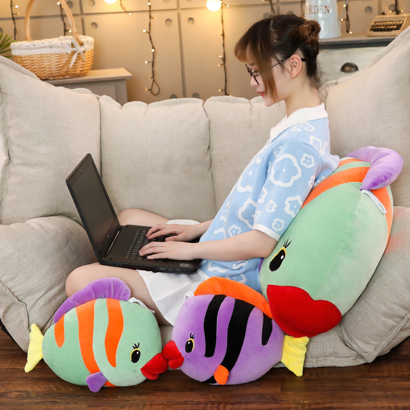 Hot 1pc 40cm 60 80CM Tropical Fish Pillow Baby Kid Plush Toy For Christmas Birthday Gift Children Plush Stuffed Toys Color Fish in Stuffed Plush Animals from Toys Hobbies