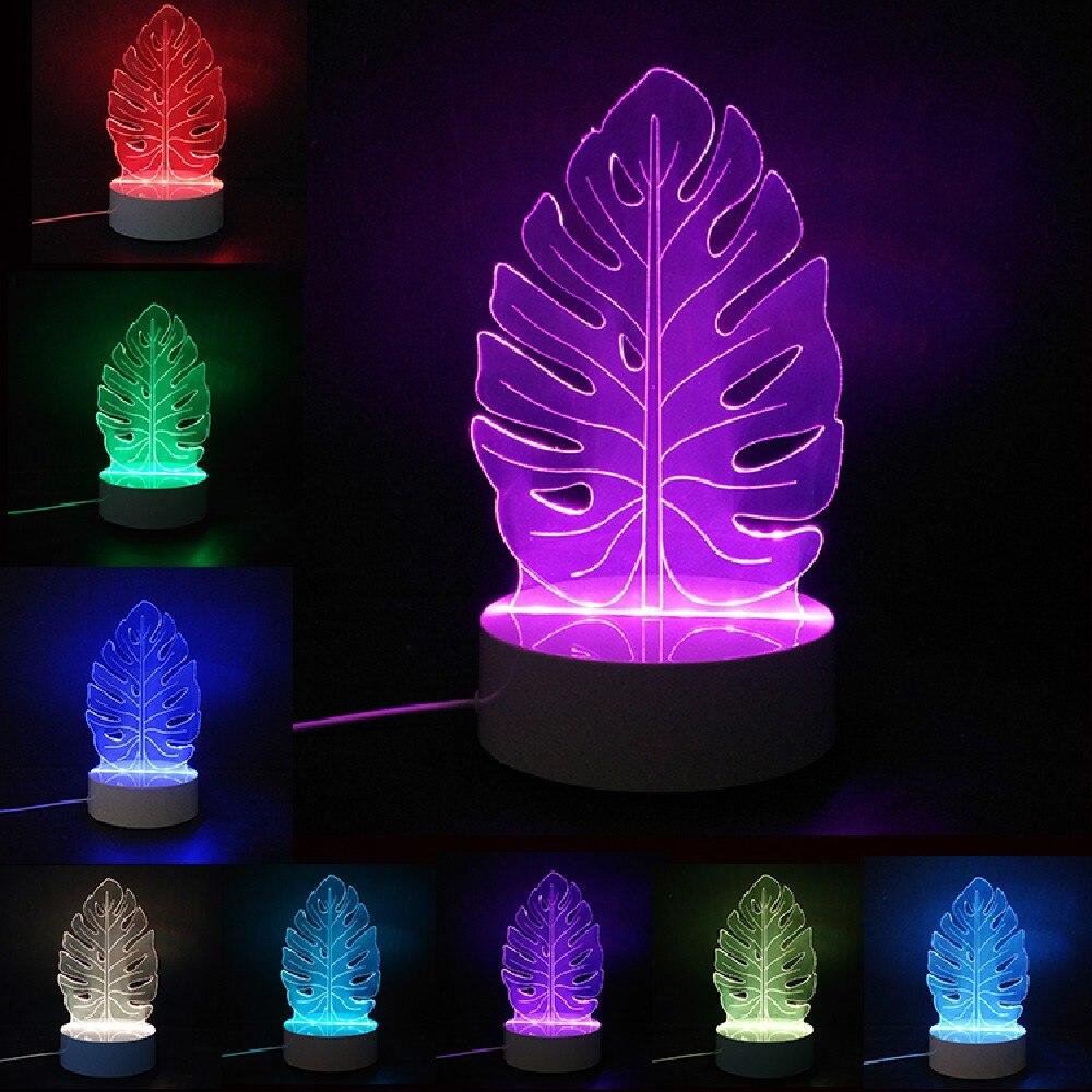 Креативный 3D ночник, электрическая модель листьев, иллюзия, светодиодная лампа, 7 цветов, изменение USB, сенсорный стол, вечеринка, домашний де...