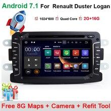 Quad Core Pure Android 7.11 GPS Navigator Radio Para Dacia Renault Duster Logan Sandero Coche DVD Reproductor de Casetes Central mapas BT