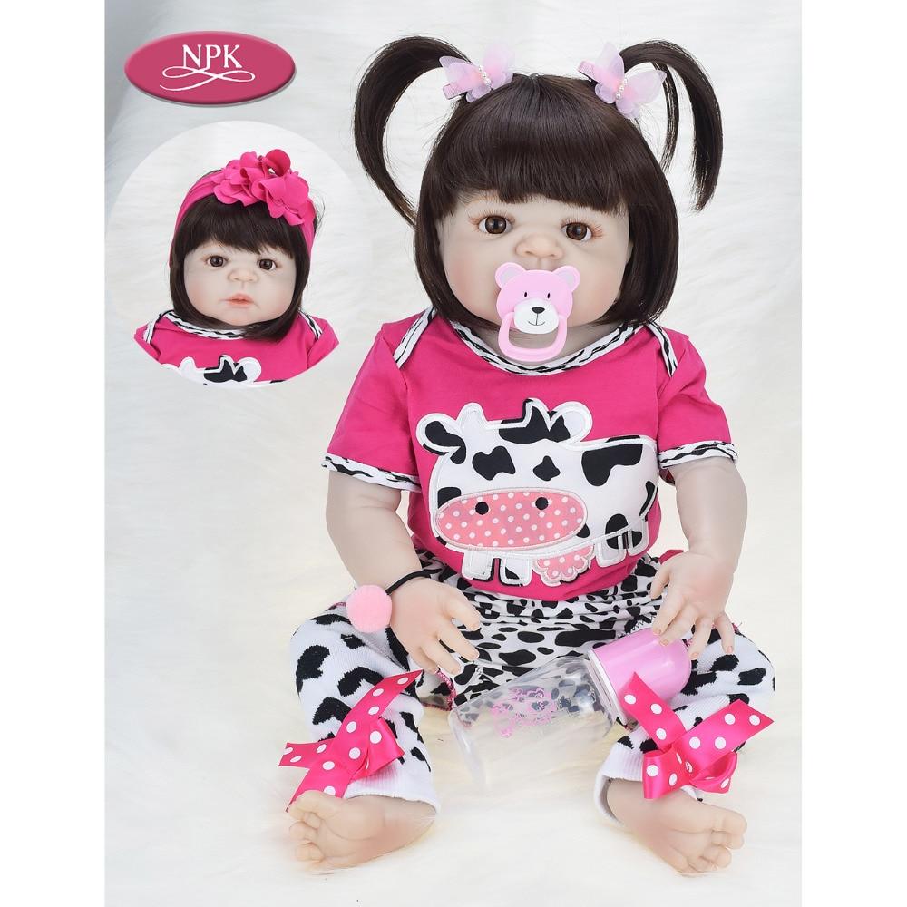 Npk 진짜 57 cm 전체 실리콘 reborn 아기 소녀 인형 목욕 장난감 부드러운 비닐 살아있는 신생아 공주 아기 인형 reborn bebe menina-에서인형부터 완구 & 취미 의  그룹 1