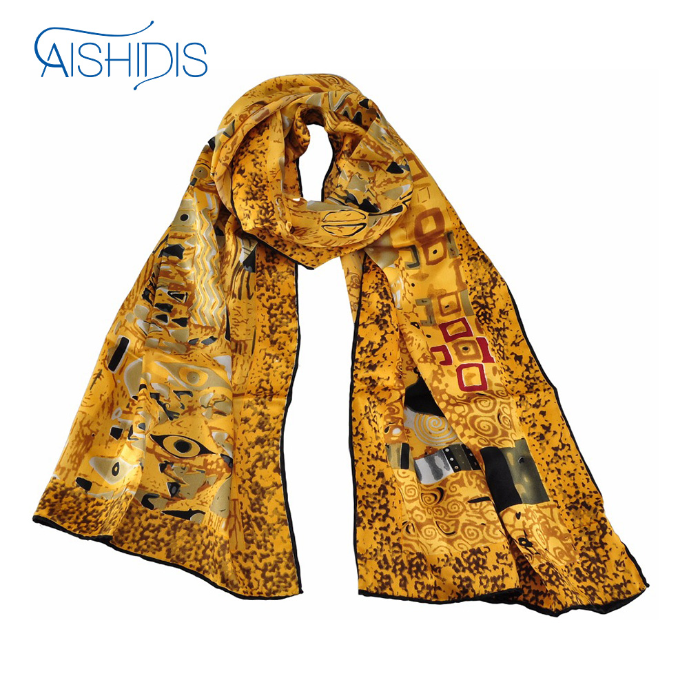 100% Silk Long Scarf Wrap Shawl Oil Painting Gustav Klimt's Adele Bloch-Baue I All Season Clothing Accessories