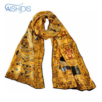 100% Silk Long Scarf Wrap Shawl Oil Painting Gustav Klimt's Adele Bloch Baue I All Season Clothing Accessories