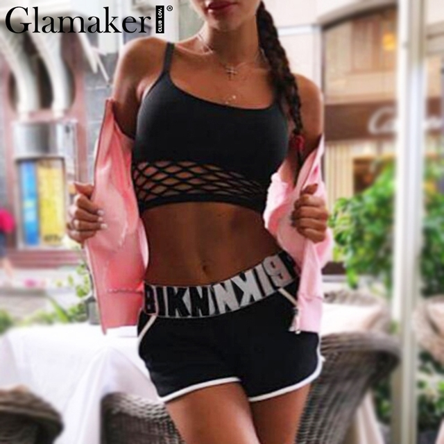 Glamaker High waist mesh bikini 2019 Sports bodysuit women bathers Bandeau black  bathing romper Letter two-piece suit bodysuit