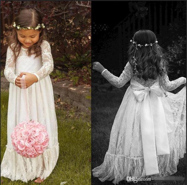 US $54.0 |2015 Long Sleeve Ivory Lace Flower Girl Dresses for Weddings Plus  Size Floor Length Long Formal First Communion Dresses-in Flower Girl ...