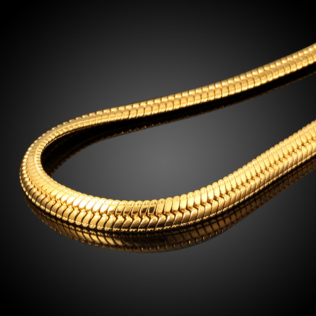 New Hot Hip Hop Jewelry Snake Chain Necklace Wholesale 2017  Trendy Stainless Steel Gold Color Men Gift Chain Necklace 1