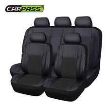 Car-pass Seat Cover Pu Leather Gray/Black/Red/Beige Universal Auto Car Seat Covers Car Interior  5 seats For Volkswagen BMW