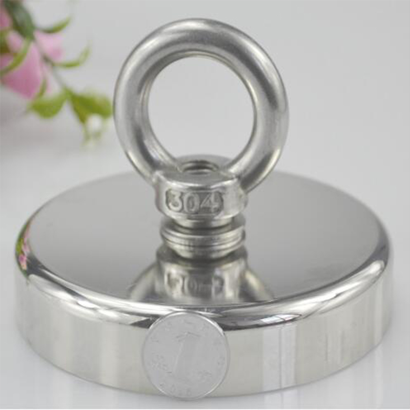 1pc D90mm strong salvage magnet pot fishing magnets deep sea salvage fishing hook Neodymium magnet treasure hunter holder 350kg