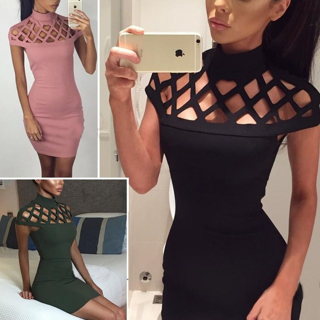 2017 New Club Dress Women Turtleneck Summer Dress Sexy Hollow Out Shoulder Mini Dresses Elegant Dress Vestido