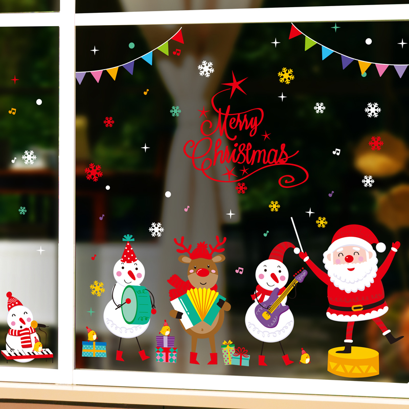 Claus, Glass, Stickers, Snowmen, Family, Christmas