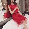 3063-2016 nueva primavera las mujeres de Corea del suéter chaleco de la borla de la falda de 45