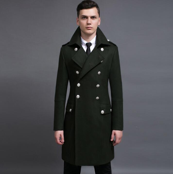 US $113.16 18% OFF|Lange design woll mantel herren oberbekleidung 2019 herbst winter plus größe vintage zweireiher wolle mäntel herren mantel olive