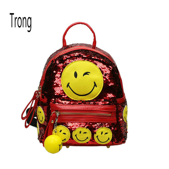 e85cec142ca9 Girl s sequined backpack blingbling emoji backpacks mini smile school bags  fashion women s casual small travel bag with pendant