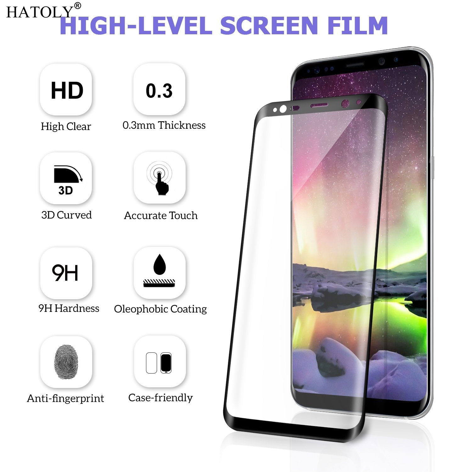 """1PCS Tempered Glass For Samsung Galaxy S8 Anti-Explosion Screen Protector for Samsung Galaxy S8 5.8"""" 3D Curved Full Cover Film<"""