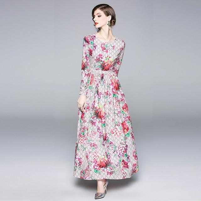dd4bf2d11e7 Runway Dress Designer Women Robe Longue Femme Ete 2018 Autumn Dresses Long  Sleeve Jurken Elegant Letters Floral Maxi Dress Pink