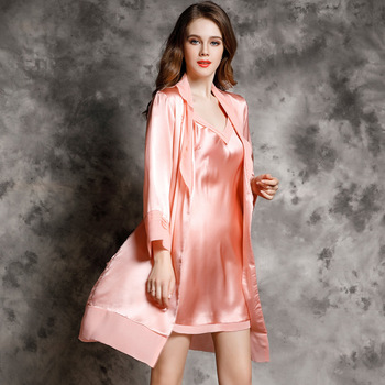 CEARPION Women Bath Robe Set Sexy Sleepwear 2PCS Dressing Gown & Sleep Skirt V-Neck Kimono Bath Gown Summer Nightwear Lounge
