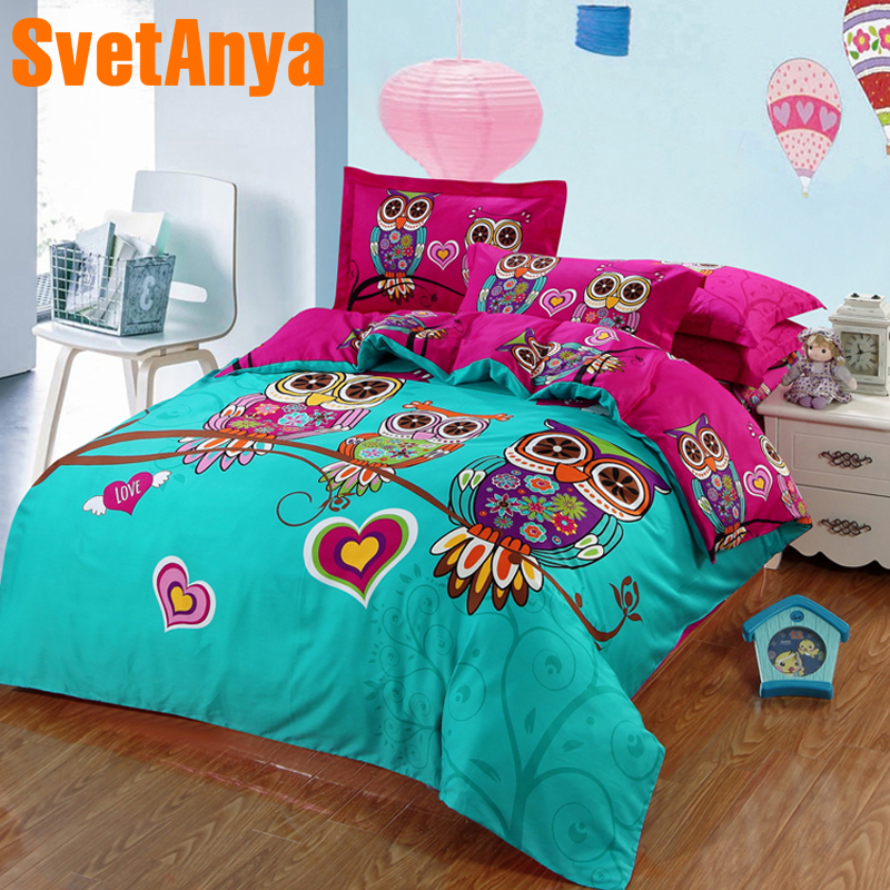 Svetanya Owl Cotton Bettbezug + Kissenbezüge Cartoon Kids 3D-Bettwäsche-Sets Twin Double Queen King Size