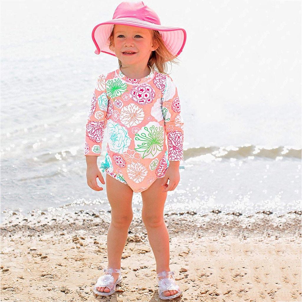 Baby Toddler Girl Swimwear Fashion Single Shoulder Romper Floral ...