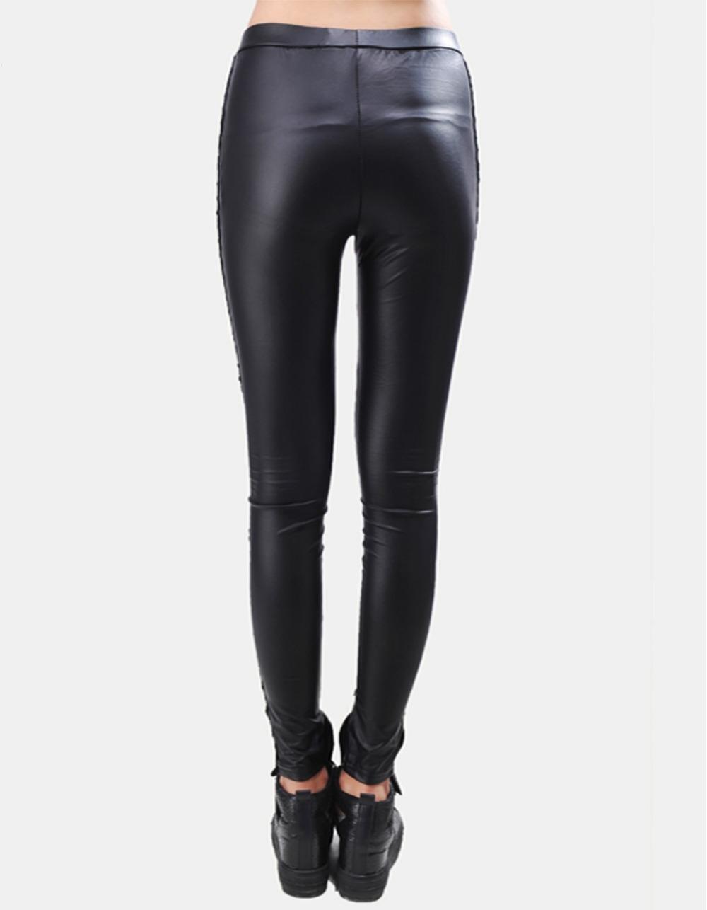 Black Legins Punk Gothic Fashion Women Leggings Sexy PU Leather Stitching Embroidery Hollow Lace Legging For Women Leggins 15 6