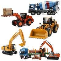 JINGBANG 1:50 Alloy Toy Trucks Models Excavator Concrete Mixer Trailer Bulldozer Roller Forklift Toys Truck For Children Gift