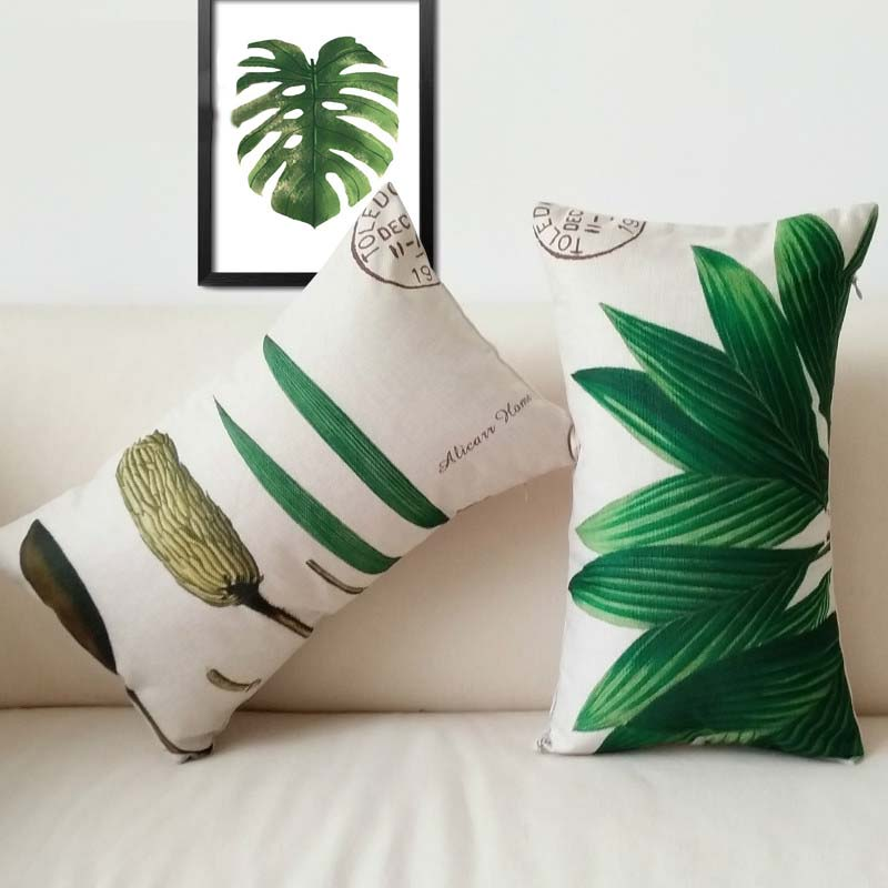 <font><b>Pillow</b></font> <font><b>Case</b></font> Home Nordic American Linen Pillowcases Watercolor Plant Grass <font><b>Pillow</b></font> Car <font><b>30*50</b></font> Decorative Cushion Cover Office Sofa image