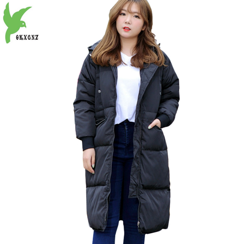 Plus size 5XL Down Cotton Long Coat Female Costume 2017 Fashion Boutique Black Warm Jackets Casual  Hooded Slim Coat OKXGNZ A969 plus size 5xl down cotton long coat female costume 2017 fashion boutique black warm jackets casual hooded slim coat okxgnz a969