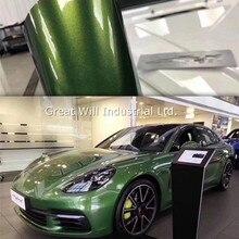 Глянцевая металлическая зеленая виниловая пленка Mamba, супер глянцевая металлическая зеленая виниловая автомобильная пленка Mamba, наклейка, не пропускающая воздух, 1,52*18 м/рулон