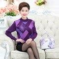 Malha Assentamento Camisa Pullover Camisola Jumper de Inverno Nova Queda Mulheres de Meia Idade Mãe Impresso Diamante Xadrez Malhas Top