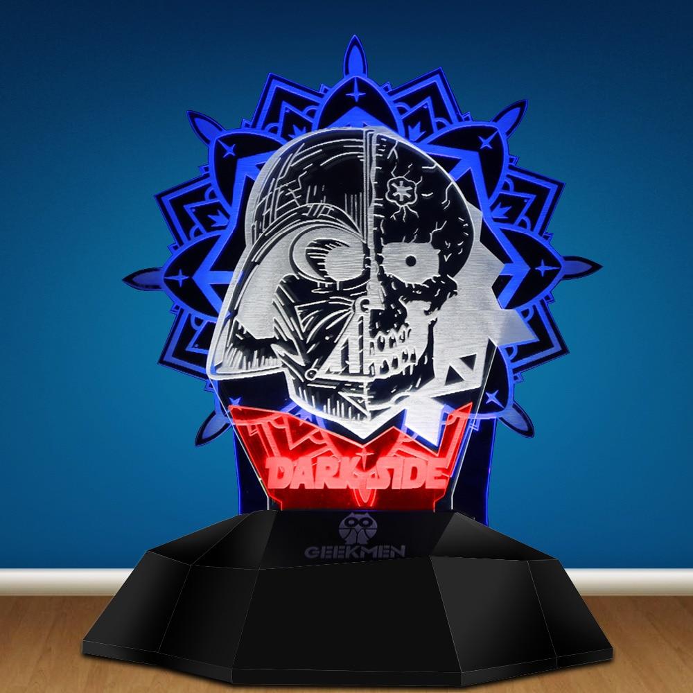 Dark Side Mandala Darth Vader Skull Art LED Light 3D Line Lamp Optical Illusion 3D Lamp Touch Sensor Skull Tatoo Table Light