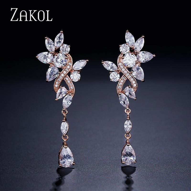 ZAKOL Sparkling Teardrop Cubic Zircon Flower Long Dangle Drop Earrings for Women Wedding Dinner Dress Jewelry FSEP577 teardrop decorated hook drop earrings