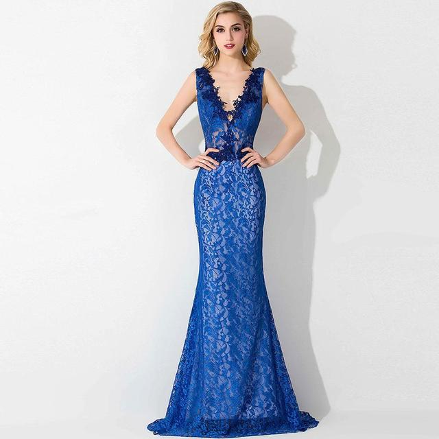 9075787c5cd Real photo Royal Blue Mermaid Prom Dresses Elegant V Neck lace evening dress  Sleeveless open back