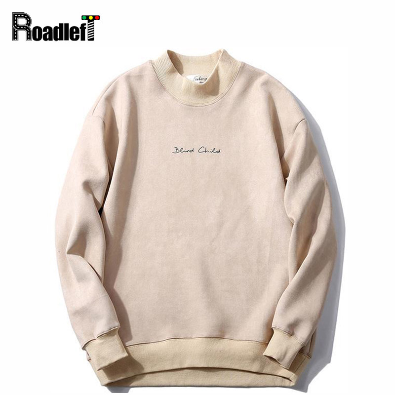 2d62e960199 Male Soft Breathable Faux Suede Fabric Turtleneck Hoodies Mens Fashion  Casual Solid Letter Print Sweatshirt Men Pullover Coat-in Hoodies    Sweatshirts from ...