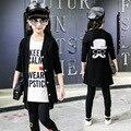 3 unids carácter conjuntos chicas sistemas de la ropa de otoño ropa de la muchacha trajes niños ropa abrigos larga camisetas dress pantalones chicas conjuntos
