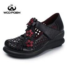 WooPoem Auténtica Mujer Zapatos de Cuero Bombas Mary Janes de Flores Retro Women Shoes Tacones Altos Plataforma Cuñas Escarpins Femme 7075