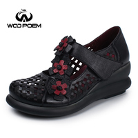 WooPoem Genuine Leather Shoes Woman Pumps Retro Flower Mary Janes Women Shoes High Heels Wedges Platform