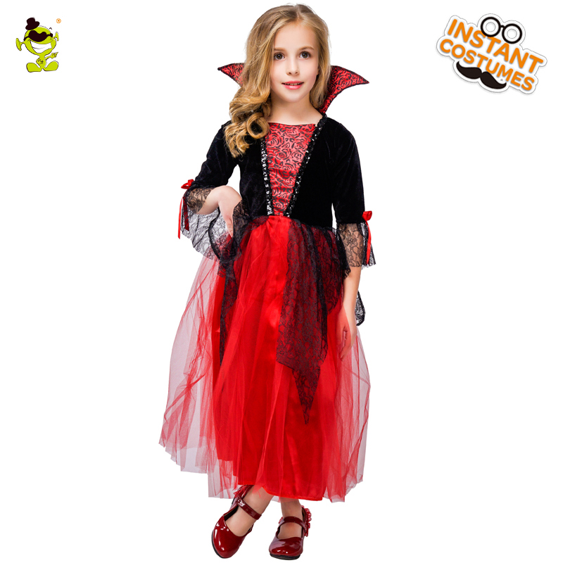 Kids Priness Vampire Costumes Girls Medieval Performance Clothing Halloween Masquerade Party Elegant Beauty Cosplay S Dress