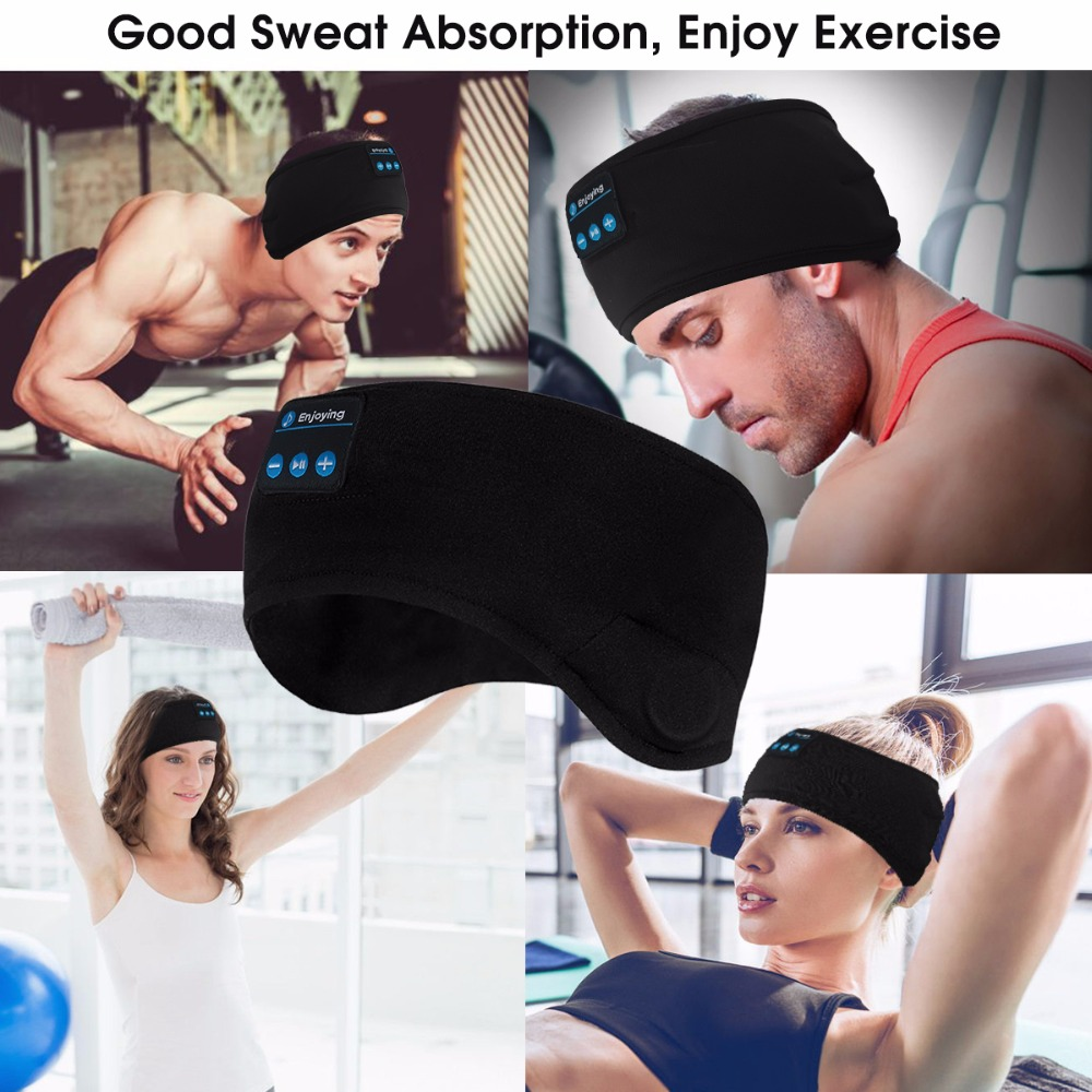 JINSERTA Wireless Bluetooth 5.0 Earphone Sleep Mask Sport Headband Soft Headphone Sleeping Headset For Listenting Music with Mic
