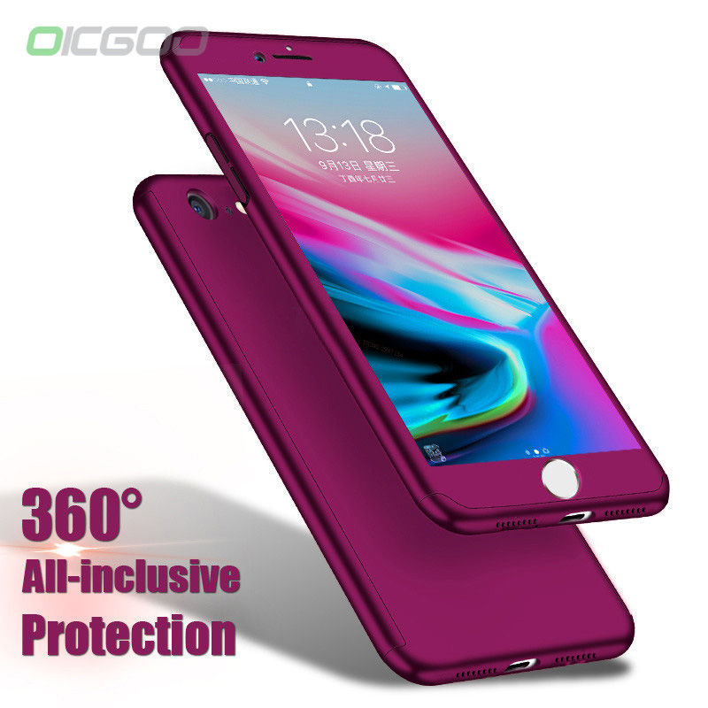 OICGOO Luxury Hard 360 Full Cover Protection Case For iPhone 8 7 6 Plus 6s Phone Cases For iPhone 6 6s 7 8 Plus Case With Glass