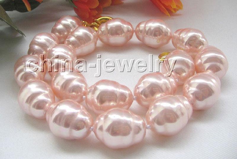 Collier de perles en coquillage de mer du sud de forme baroque rose naturelle de P4685-18