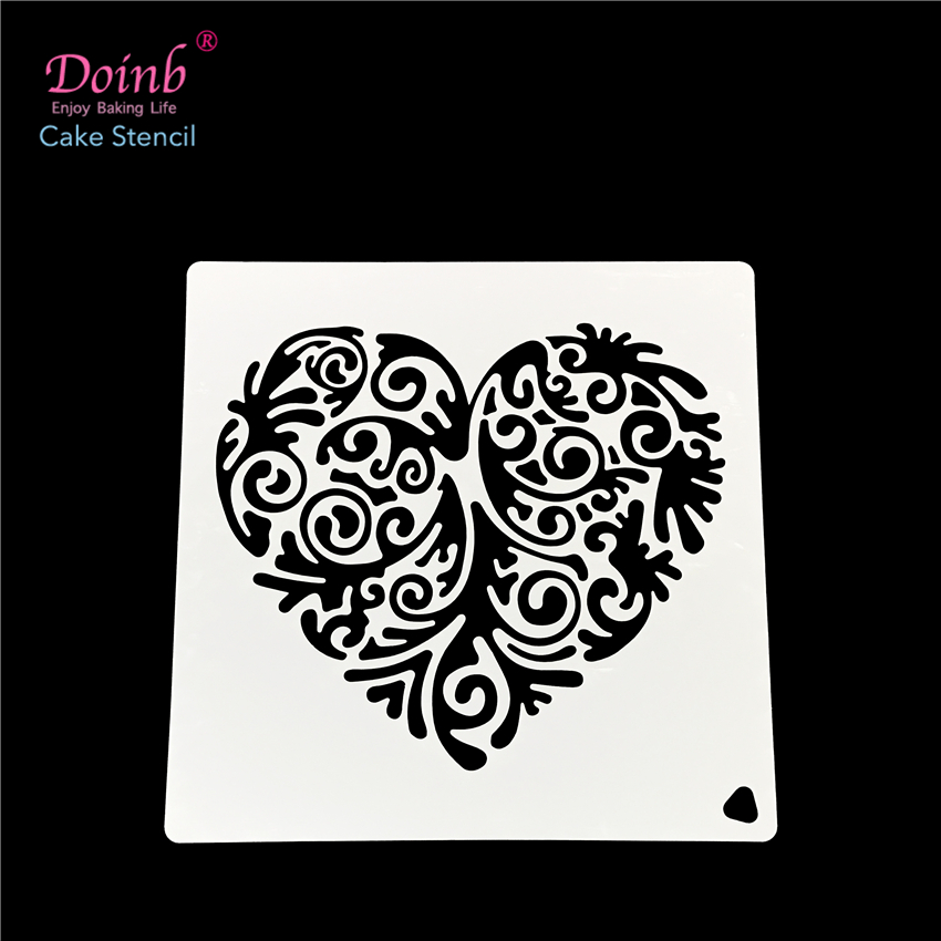 Love Heart Totem Plastic Spray Flower Cake Mold Strew Pad Stencil Duster Cupcake Fondant Decoration Baking Tool Moulds FQ4040