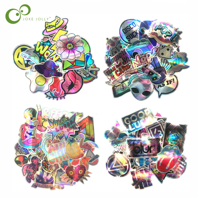 Laser Sticker Funny Cute Style ET Waterproof Snowboard Luggage Laptop Motorcycle Suitcase Skateboard Graffi Toys Decal GYH