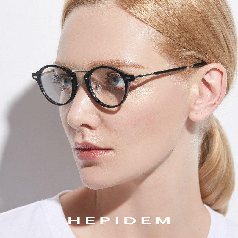7073b361fec20 Vidros Ópticos de acetato de Prescrição Óculos de Armação de Metal Homens  Pequeno Rodada Do Vintage