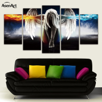 5 Panel Angel Girl Anime Demons Movie Poster Oil Painting Canvas Wall Art Painting For Living