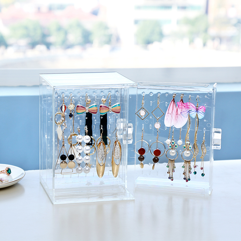 Juesi Jewelry Storage Simple /& Transparent Jewelry Earring Necklace Wall-Mounted Finishing Rack Container