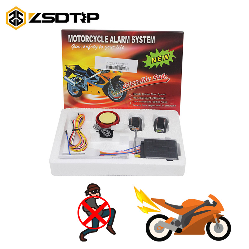 ZSDTRP 12V Motorcycle Alarm System Motorbike Anti-theft Security Alarm System 315KHz Motorcycle Remote Control Security Engine