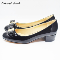 women shoes Genuine Leather Square heel Designer Shoes Woman Brand bow shoes Valentine Shoes sapatos de salto alto. da005